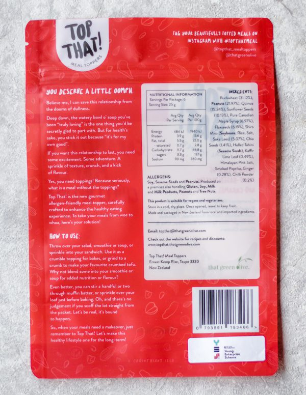Caramelised Maple, Chilli & Lime Meal Topper back - Top That! Meal Toppers
