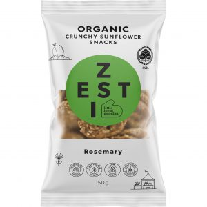 Zesti Rosemary flavoured organic sunflower snacks