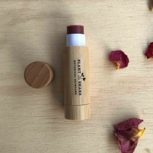 Wineberry Lip balm in bamboo pot made by Plant and Share