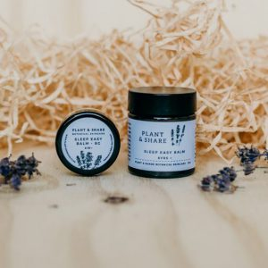 Sleep Easy Balm shown in two pot sizes, made by Plant and Share